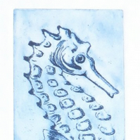 Seahorse an original etching print in blue