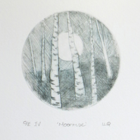 Moon rising through the birch wood an original drypoint etching