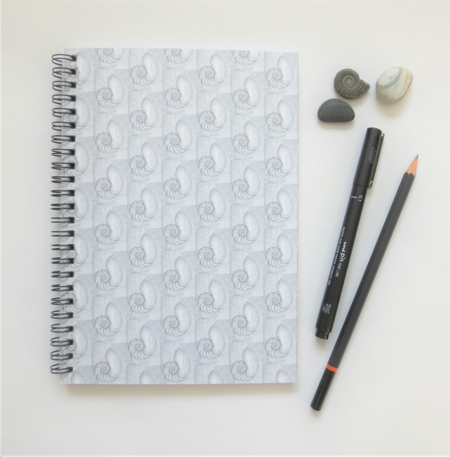 A5 lined spiral notebook cover design a chambered nautilus shell repeat pattern