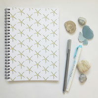 Starfish lined spiral notebook ocean themed gift stationery A5 (6x8 approx)