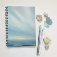 Ocean and sky themed cover lined spiral notebook note pad journal A5