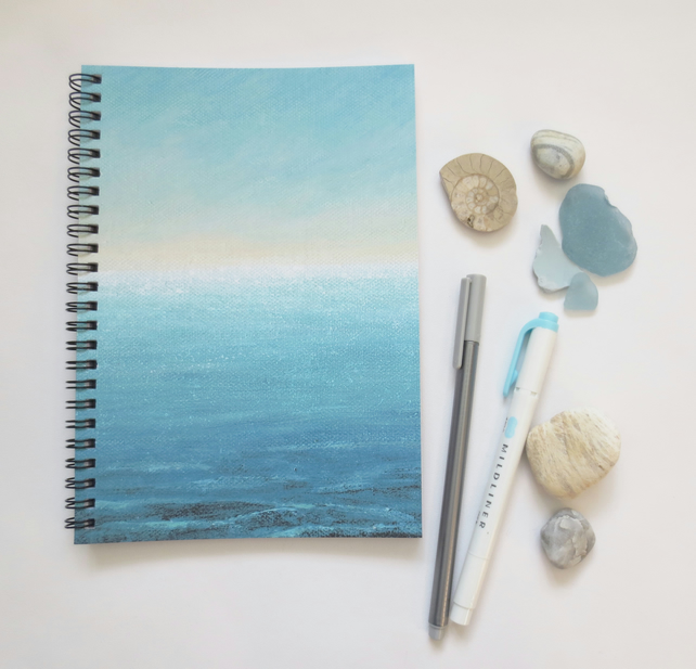 Ocean themed cover notebook spiral binding A5 (6x8 approx) gift stationery desk