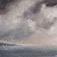 Original watercolour painting sailing ocean sea before the storm broke