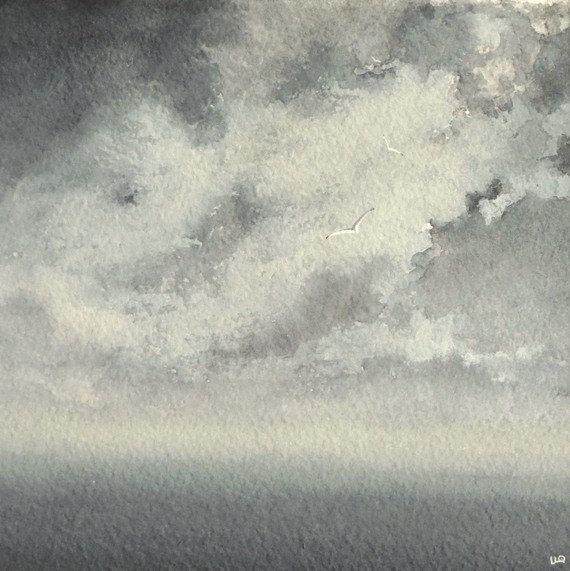 Original watercolour painting ocean storm clouds and gulls storm at sea