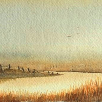 Original watercolour painting sun set over the river and fields autumn reeds