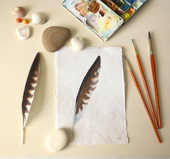 Original watercolour illustration painting feather study
