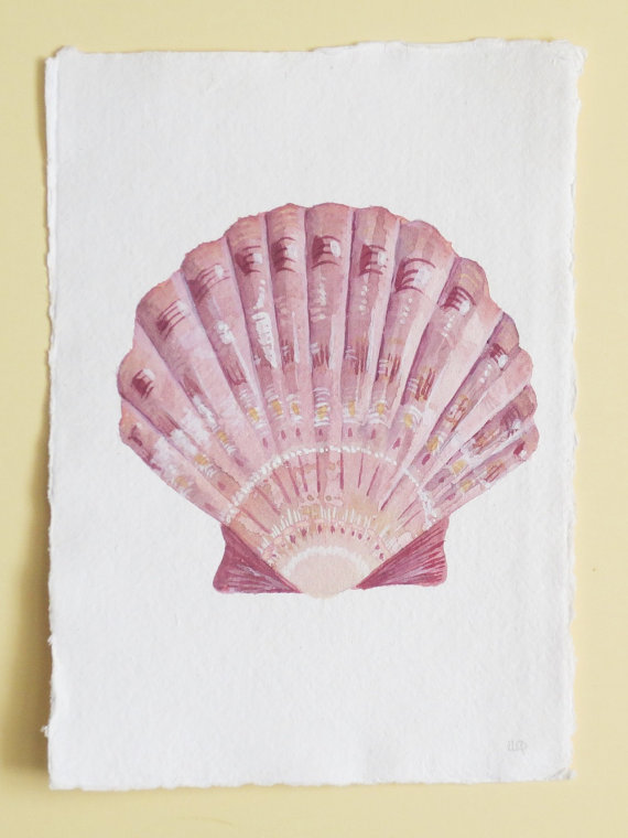 Original watercolour painting of a scallop seashell illustration beach decor
