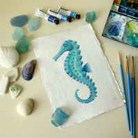 Seahorse turquoise original watercolour painting illustration seaside series