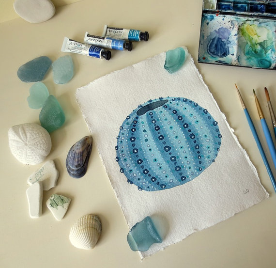 Blue sea urchin original watercolour painting