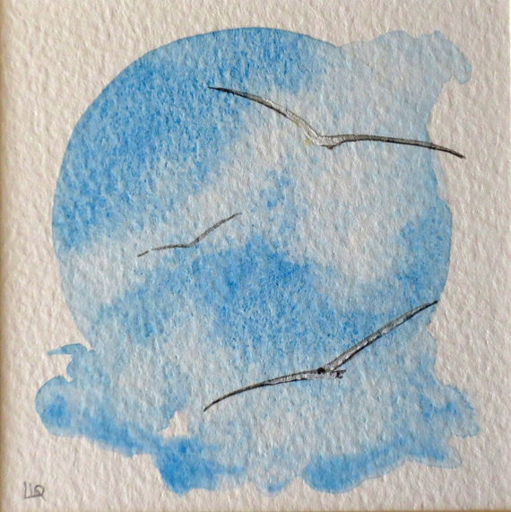 Watercolour miniature gulls flying original painting