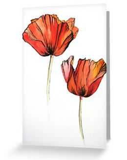 Red poppies reproduction greeting card blank inside for your message