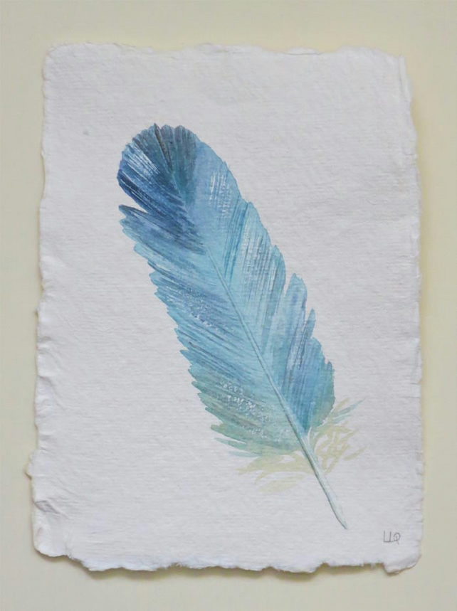 Blue feather original watercolour painting illustration on handmade paper