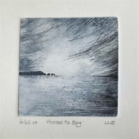 Coastal etching print across the bay the Needles Isle of Wight original etching