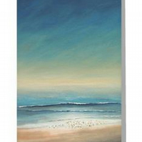 Blank greeting card beach coastal scene at sun down