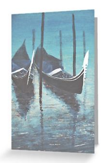 Gondalas at rest in Venice blank greeting card
