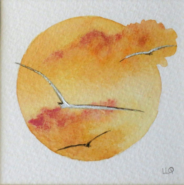 Gulls flying at sunset watercolour vignette miniature mounted original painting