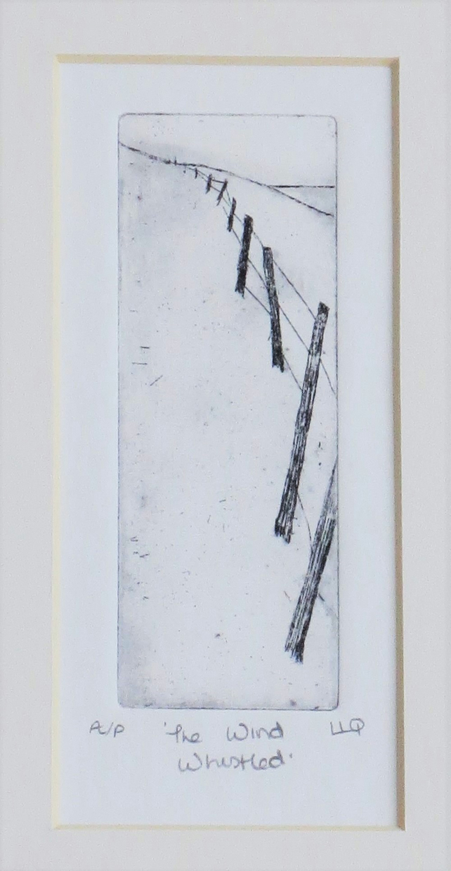 Original etching print fence posts along the coast path mounted ready to frame