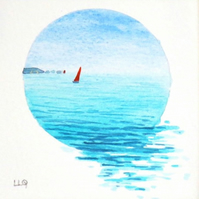 red sailboat sailing on the ocean an original watercolour miniature gift ready