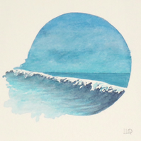 A breaking wave original watercolour painting vignette coastal view surf