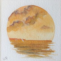 Sailing at sunset a watercolour miniature vignette original painting