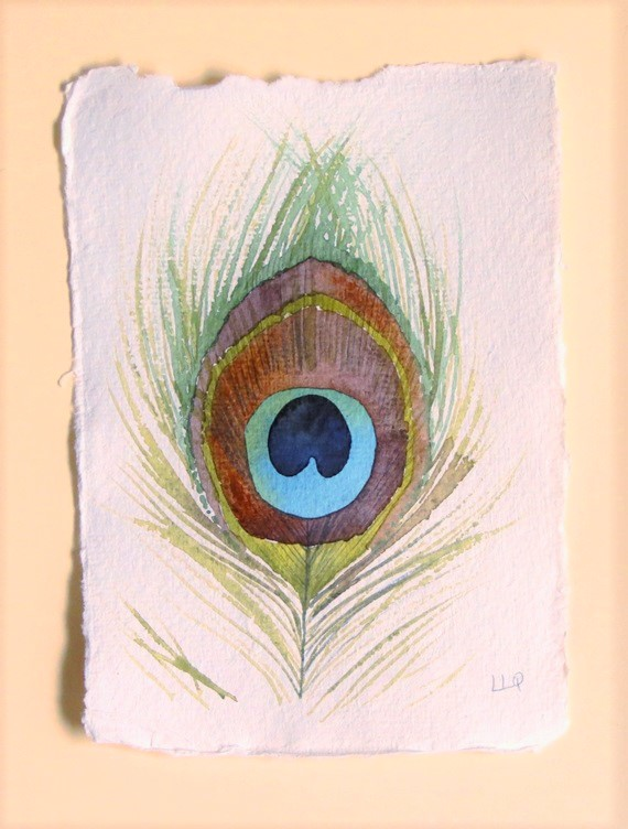 Peacock feather original watercolour painting illustration study avian art