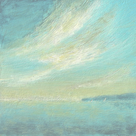 Original painting beach coastal ocean sky evening dusk sailing across the bay