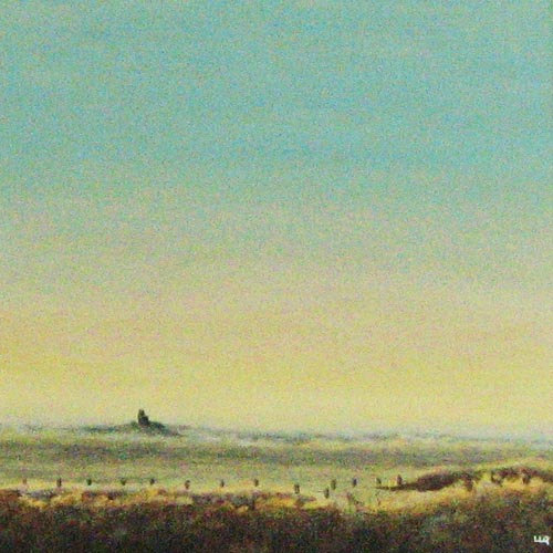 The view to Corfe and the castle countryside dusk original landscape painting