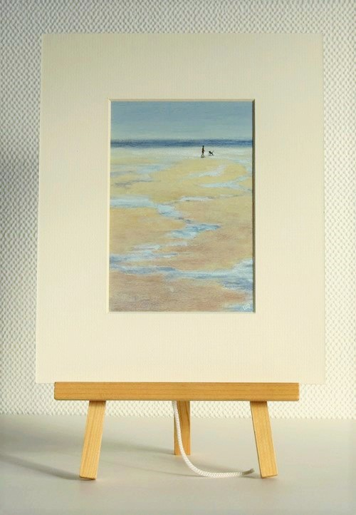 Original acrylic painting low tide beach walking the dog art picture
