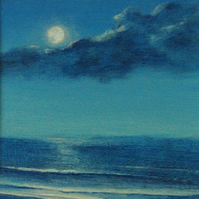 Beach, ocean moon night original acrylic painting - Mid Summer's Night seaside