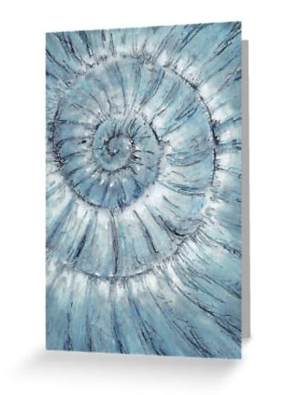 Blank greeting card ammonite no.90 note card notelet fossil spiral