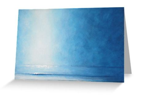 Blank greeting card seascape, beachscape shoreline notelet, notecard,