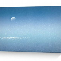 Moon over the sea blank greeting card, notelet, notecard, coastal, ocean