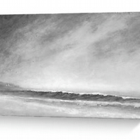 Blank greeting card notelet monochrome coastal study
