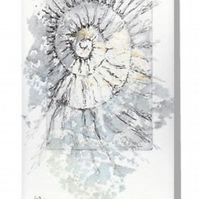 Ammonite fossil no.63 blank greeting card from an original etching