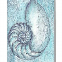 Chambered nautilus in blue blank greeting card for any occaision or just a note