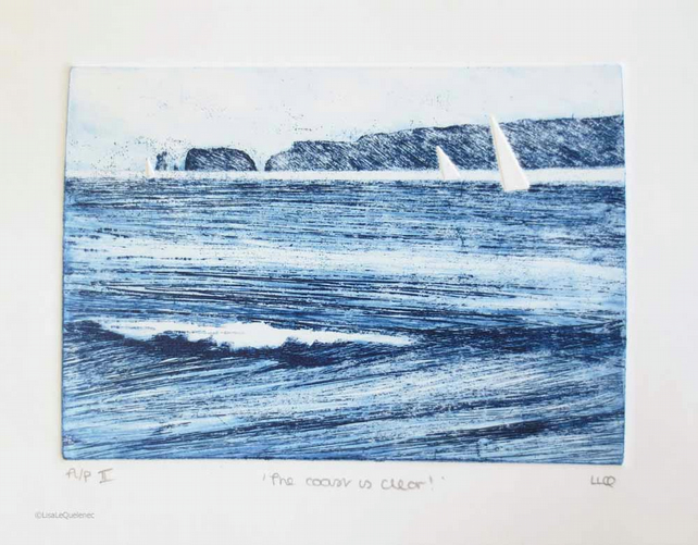 Original etching artist proof print of sailing boats at Old Harry Rocks