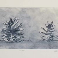 Three pine cones original drypoint in smokey grey forest floor still life
