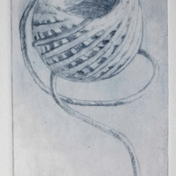 Original drypoint of a ball of string