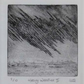 Original drypoint print of a rain storm over the ocean