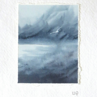 Storm ocean sea and gulls original watercolour painting mini art minature