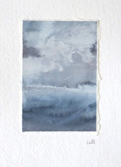 Original watercolour miniature painting of a storm building out to sea