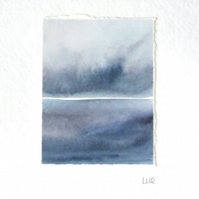 Original watercolour miniature ocean painting