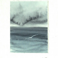 Original watercolour storm painting miniature