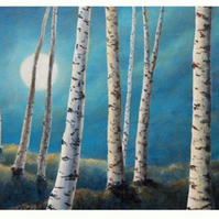 Silver birch moon a reproduction print from an original painting