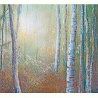 Silver birch forest in gloaming a reproduction print from my original painting