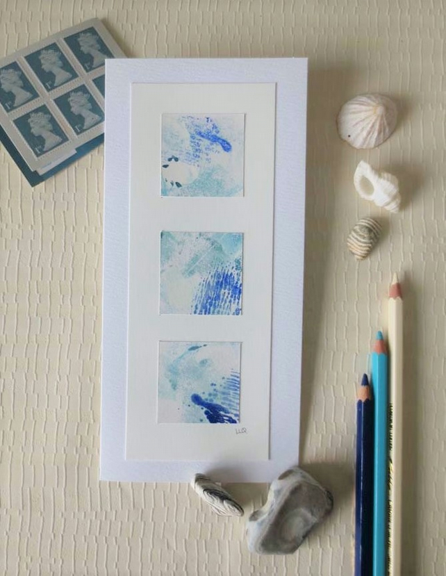 Set of three hand painted abstract art cards inspired by the sea