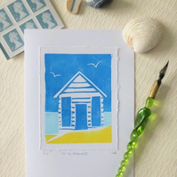 Block printed beach hut blank greeting card - At the Seaside I