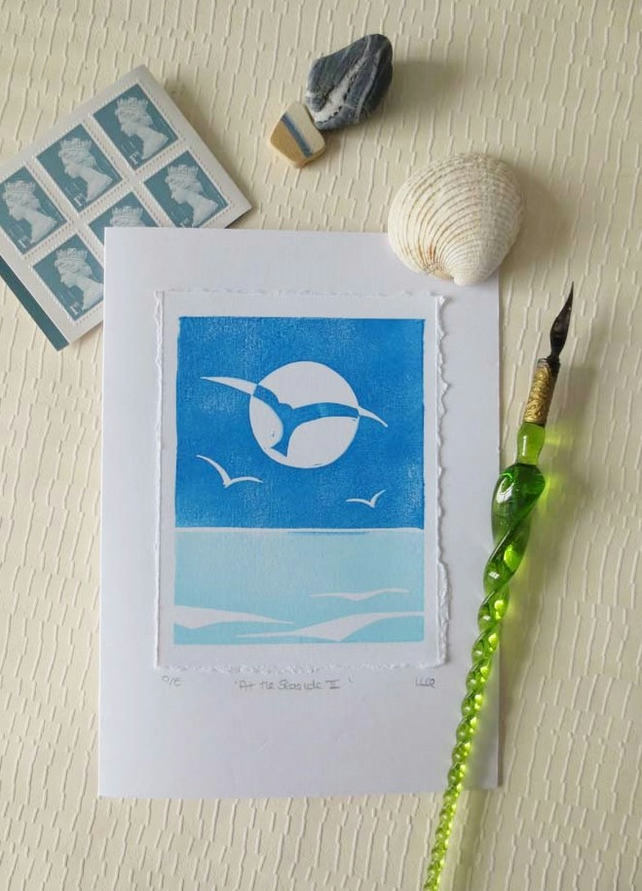 Hand printed british beach inspired blank greeting card - At the Seaside II