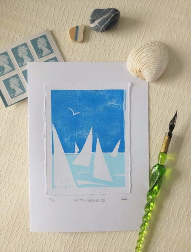 Sailing inspired hand printed blank greeting card - At the Seaside III