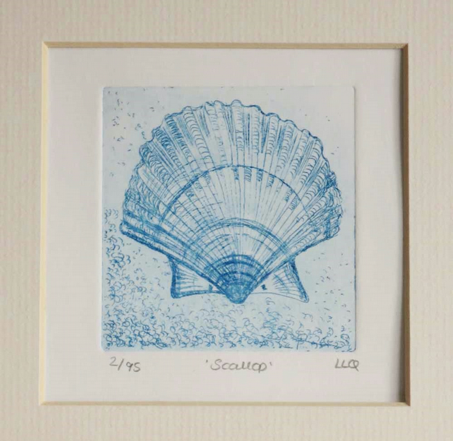 Scallop hand printed sea shell etching print